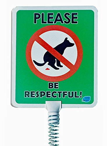 Premium - Dog Poop Signs for Yard | Stops Dogs from Pooping, no Poo, on Your Lawn Signs Spring Action Dog Poop Sign, Stop Pets Pooping or Peeing The Lawn Yard (Please Be Respectful)