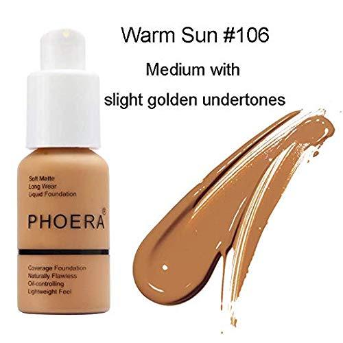 Matte Oil Control Concealer Foundation Cream,PHOERA New 30ml Long Lasting Waterproof Matte Liquid Foundation (106 Warm Sun)