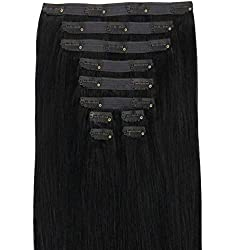 """Maxy #1 Midnight Black Clip In 100% Human Hair Extensions 20"""" inches 170-230grams Remy Triple Wefted High Density Silky Hair (11 pieces set) (230g)"""