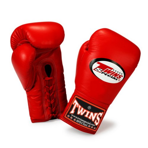 Twins Special Gloves Lace Closure BGLL-1 Color Red Size 8, 10, 12, 14, 16 oz for Muay Thai, Boxing, Kickboxing, MMA (Red,14 oz)
