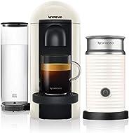 NESPRESSO Cafetera VertuoPlus con Espumador de leche, Color Blanca (Incluye obsequio de 12 cápsulas de café)