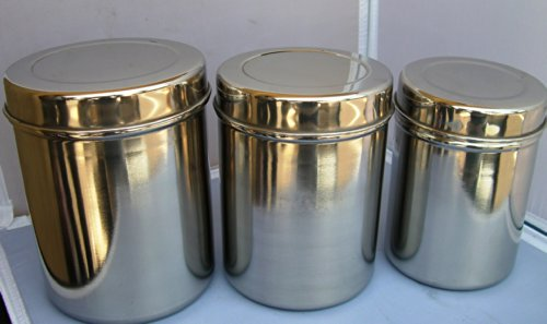 Stainless Steel Tea Tin/ Canister Container Set of 3 by east west usa store