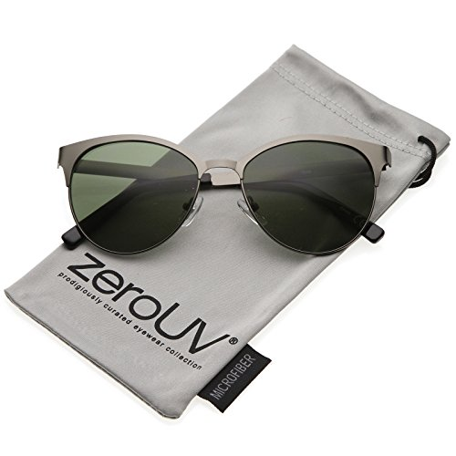 zeroUV - Women's Flat Metal Matte Finish Round Lens Cat Eye Sunglasses 54mm (Gunmetal / - Contacts Cheap Eye Cat