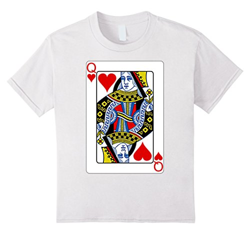 Kids Playing Card Queen of Hearts T-Shirt Valentine's Day Costume 10 White (Queen Of Hearts Card Adult Costume)