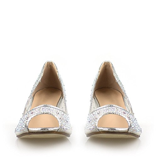Hæl Open Serena Mesh Shoe Kitten Serena Heel Silver Skoen Kitten Diamanté Toe Medium Mesh Diamant Tå Åpen Sølv Medium qr7wrI