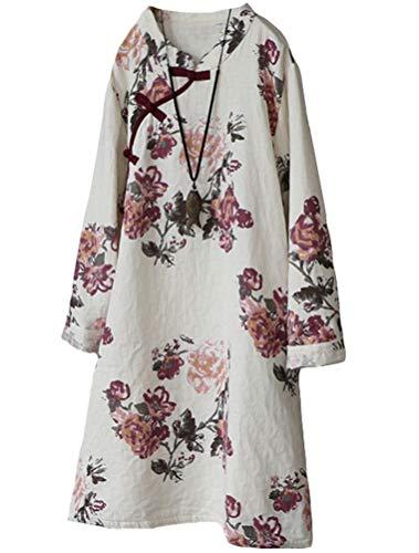 Minibee Women's A-Line Dress Ethnic Floral Print Dresses Long Sleeve Retro Linen Tunic Red L