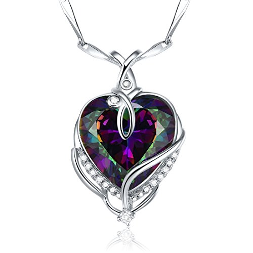 Merthus 925 Sterling Silver Created Mystic Fire Rainbow Topaz Heart Necklace for Women Jewelry Gifts for Wife