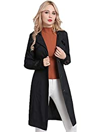 MS·Vassa Women Slim Long Trench Coat Windbreaker Ladies Lightweight Elegant Jacket Outwear with Belts