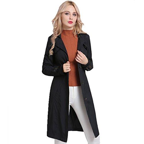 (MS·Vassa Women Slim Long Trench Coat Windbreaker Ladies Lightweight Elegant Jacket Outwear with Belts Two Porkets Anorak, Black, 2XL)