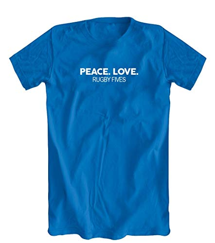 Peace. Love. Rugby Fives T-Shirt, Blue, Small