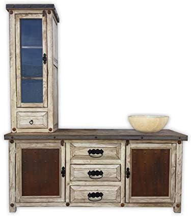 Woodland 60 Rustic Vanity with Tower, Metal Panels, Vintage White