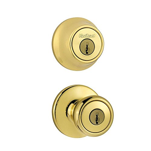 Kwikset 96900-305 Frustration_Free 690 Tylo Keyed Entry Knob & Single Cylinder Deadbolt Combo (1-Pack), Polished Brass