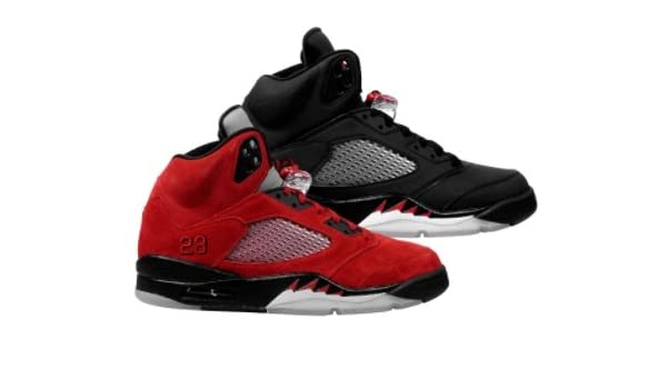 new style 4d482 33d61 Amazon.com   Jordan Nike Air 5 Retro DMP Raging Bull Black Red Mens  Basketball Shoes 360968-991   Shoes