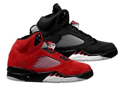 new style 213c7 c742b Amazon.com   Jordan Nike Air 5 Retro DMP Raging Bull Black Red Mens  Basketball Shoes 360968-991   Shoes