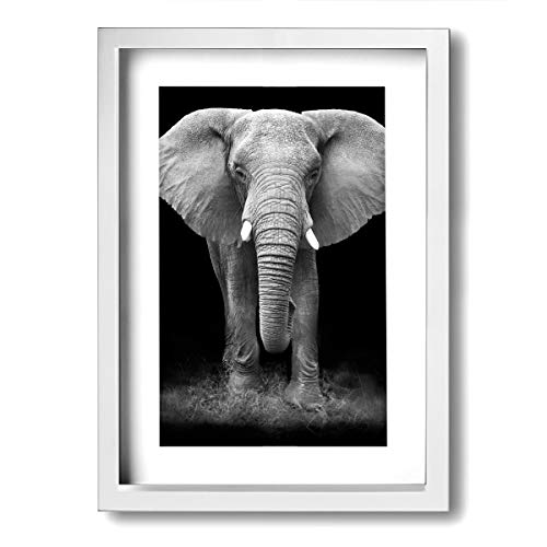 Hd8yehao Canvas Wall Art Black and White Glass Splashback Elephant Prints Picture Modern Paintings Home Decoration Giclee Artwork Wood Frame Ready to Hang
