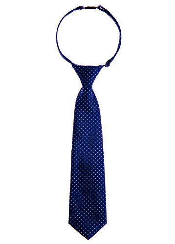 Retreez Modern Mini Polka Dots Woven Microfiber Pre-tied Boy's Tie - Navy Blue with Light Blue Dots - 4-7 years ()