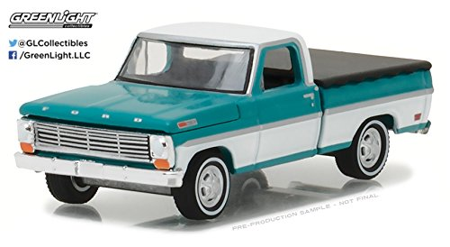 Greenlight 29924 1969 Ford F-100 Pickup Truck Turquoise with Bed Cover Hobby Exclusive 1/64 Diecast Model Car