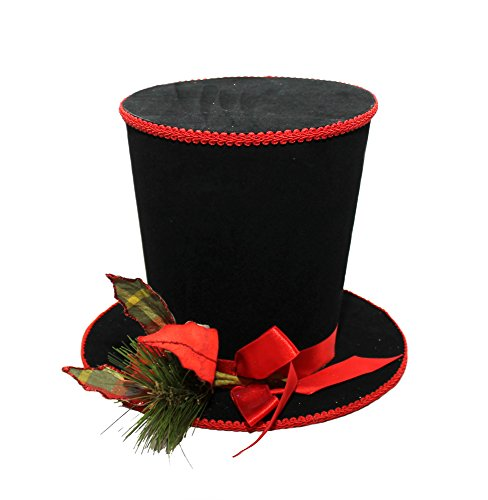 TOP HAT ~ CHRISTMAS TOP HAT ~ POINSETTIA WREATH ~ CHRISTMAS DECORATION (Cheap Mini Top Hats)