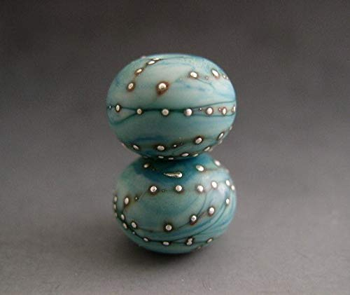 World's Natural Treasures - Naos Glass Laguna Pair Made to Order Artisan Glass Beads Mint Blue Turquoise Fine Silver Handmade Lampwork Beads SRA