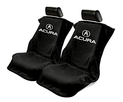 Logo Car Seat Towel - Seat Armour 2 Piece Front Car Seat Covers for Acura - Black Terry Cloth