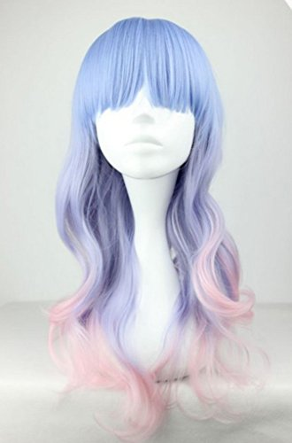 Fashion Women Long Multicolor Wavy Harajuku Style Cosplay Wig (Light Blue/ Light Purple/ Pink) (Black Long Wig With Two Braids)