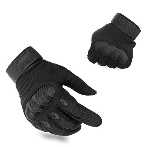 KevenAnna Full Finger Cycling Motorcycle Gloves Outdoor Tactical Shooting Gloves for Military Gear Men's Military Gloves for Army Tactical Gear (1-Black, Large)