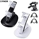 2 Pack PS4 Controller Charger, Playstation 4 / PS4 / PS4 Pro / PS4 Slim Controller Charging Dock Stand Stations with Dual Micro USB Fast Charging & LED Indicator (Black & White) (Color: black & white)