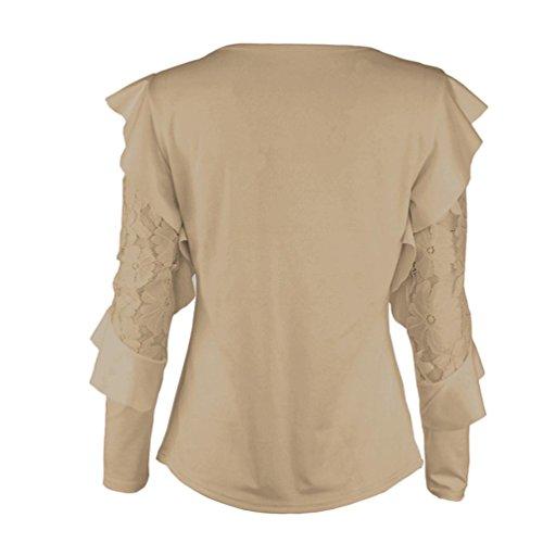 Donna Felpa Autunno ABCone Casual Elegante Pizzo o T Pullover Camicette Shirt Tops Lunghe Solido Cachi Camicie Collo Cucitura Maniche BEEdxq4n
