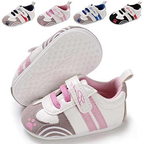 (Baby Boys Girls Sneakers Non Slip Rubber Sole Infant Toddler First Walker Outdoor Tennis Crib Shoes (3-6 Months M US Infant) B-Pink)