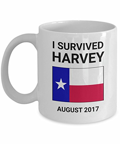 Hurricane Harvey Survivor Mug I Survived Houston Texas August 2017 Gift Rockport Tropical Storm Lone Star State Ceramic Tea Coffee Cup White Red Blue