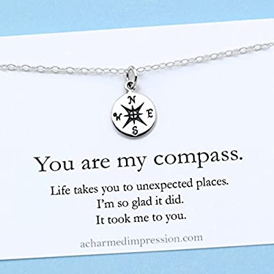 You are my Compass • I'd be Lost Without You • Personalized Sterling Silver Charm Necklace • Unique Handcrafted Gift for Wife / Girlfriend / Best Friend