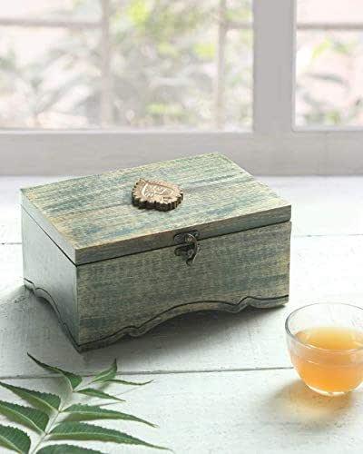 Caja de té de madera Caja de recuerdos Caja de almacenamiento de bolsas de té Accesorios de cocina Organizadores de té para el dormitorio Regalos hechos a mano para el hogar hechos