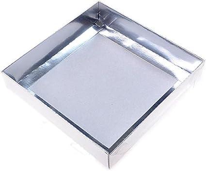 Cajas de acetato de color plata, 15x15x3cm, 5 piezas