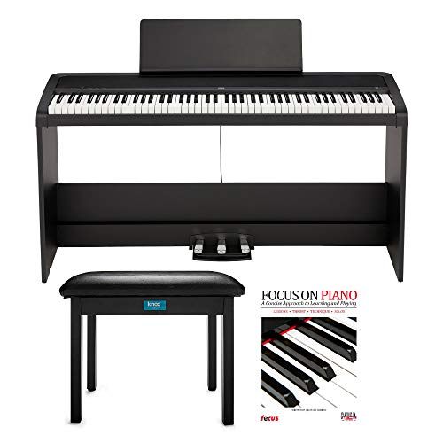 KORG B2SP 88-Key Digital Piano with Stand, Three-Pedal Unit, Knox Gear Piano Bench and Piano Book (3 Items)