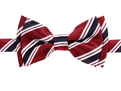 Retreez Preppy Stripe Pattern Woven Microfiber Pre-tied Boy's Bow Tie - Maroon Red and Navy Blue - 6-18 months - Stripes Woven Bow Tie