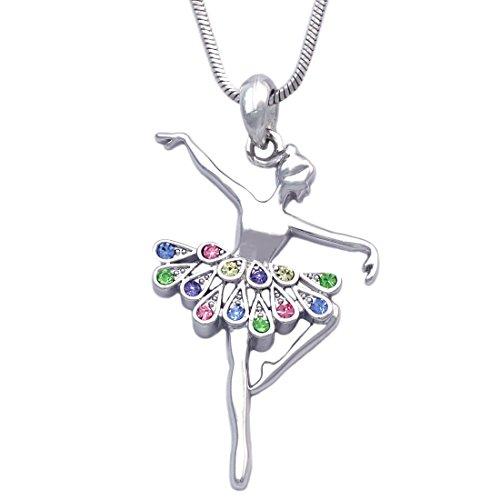 cocojewelry Ballerina Ballet Dancer Passe Relever Pose Pendant Necklace Gift Box (Passe Multi-Color)