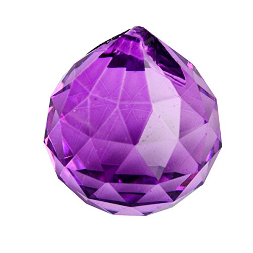 30mm Crystal Ball Prisms for Chandelier, Ceiling light, Christmas Tree , Window display, Wedding Display, Curtains W Fengshuisale Red String Bracelet (Purple)