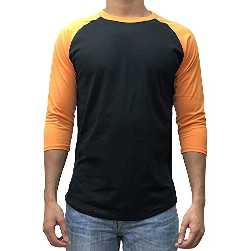 KANGORA Men's Plain Raglan Baseball Tee T-Shirt Unisex 3/4 Sleeve Casual Athletic Performance Jersey Shirt (24+ Colors) (Black Orange, Medium) Black Baseball Jersey Shirt