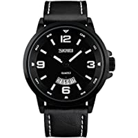 J.Market® 50 Meters Waterproof Quartz Fashionable Men Watch with date function with Genuine Leather Band (Black)