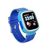 KOSCHEAL Q90 GPS Smart Watch Baby Reloj con WiFi visualización táctil SOS Call ubicación Kid Safe,Azul
