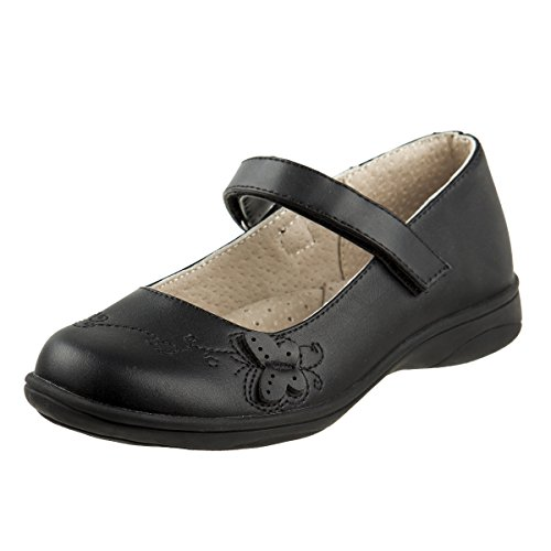 Laura Ashley Girls Hook and Loop School Uniform Shoes, Black Butterfly, 10 M US Toddler' -
