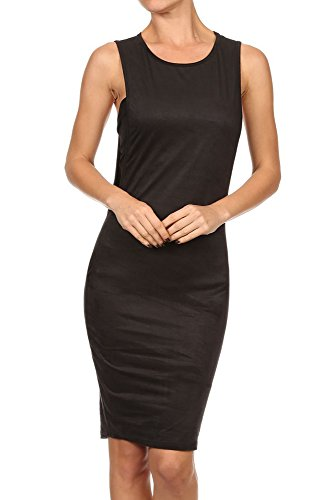 Sleeveless Knit Cocktail Mini (Sexy Solid Sleeveless Open-side Stretch Bodycon Knit Suede Cocktail Mini Dress (Small, Black))