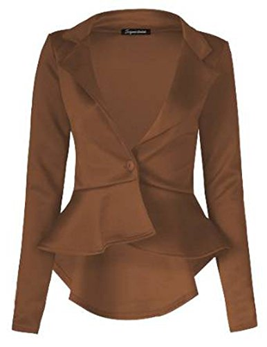 FashionMark Womens Plain Crop 1 Button Peplum Frill Blazer Jacket - Blazer Brown