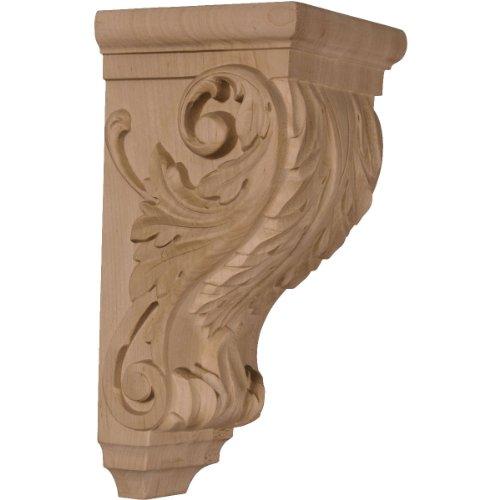 Ekena Millwork CORW05X05X10ACRO 5-Inch W x 5-Inch D x 10-Inch H Medium Acanthus Wood Corbel, Red (Acanthus Wood Corbel)