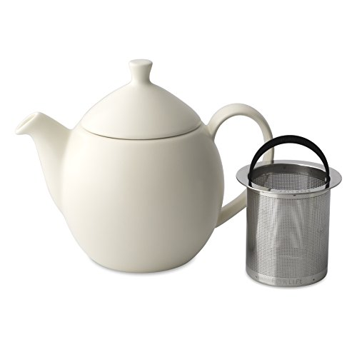 FORLIFE Dew Teapot with Basket Infuser, Natural Cotton, 14 o