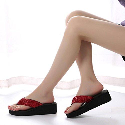 Outdoor zapatillas playa verano Mujeres Rojo interior flip amp; Ouneed lentejuelas flop UwpqW