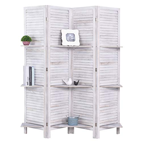 - RHF 4 Panel 5.6 Ft Tall Partition Wood Room Divider, Wood Folding Room Divider Screens, Panel Divider&Room Dividers, Room Dividers and Folding Privacy Screens with Shelves(4 Panel,White)
