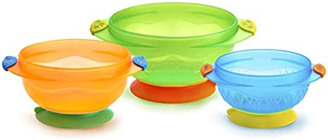 Munchkin 49003 Three Stay Put Suction Bowl, 3-Pack