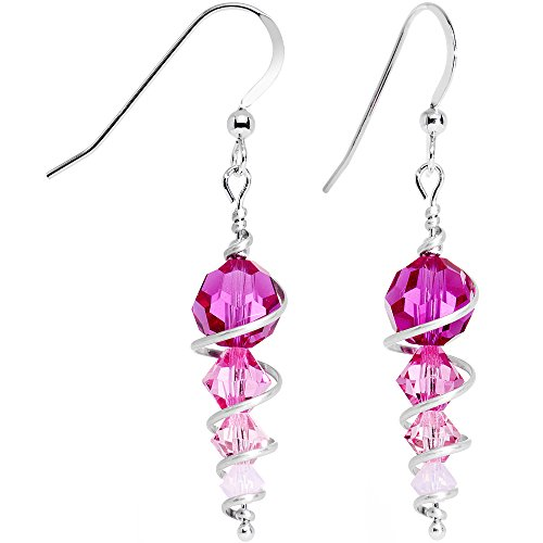 Body Candy Handcrafted 925 Silver Pink Icicle Drop Earrings Created with Swarovski Crystals