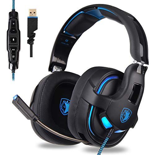 (Choyur SADES PC Gaming Headset, 7.1 Surround Stereo Sound R15 USB Computer Gaming Headset 53mm Drivers with Microphone,Over-The-Ear Noise Isolating,Breathing LED Light Compatible Mac, Laptop,PC Gamers)